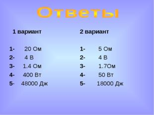 1 вариант 1- 20 Ом 2- 4 В 3- 1.4 Ом 4- 400 Вт 5- 48000 Дж 2 вариант 1- 5 Ом