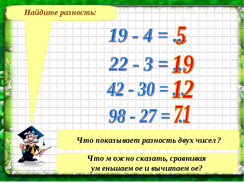 Найдите разность: Что показывает разность двух чисел? Что можно сказать, срав...