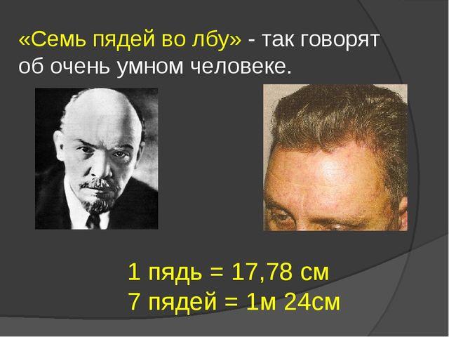 «Семь пядей во лбу» - так говорят об очень умном человеке. 1 пядь = 17,78 см...