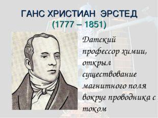 ГАНС ХРИСТИАН ЭРСТЕД (1777 – 1851) Датский профессор химии, открыл существова