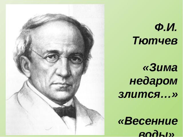 Ф.И. Тютчев «Зима недаром злится…» «Весенние воды»