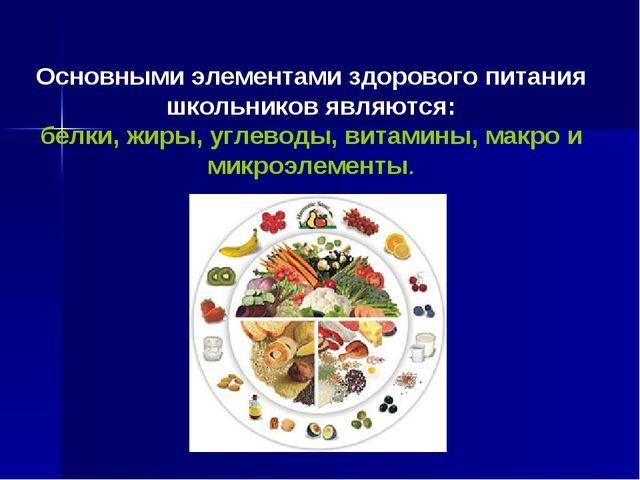 Основными элементами здорового питания школьников являются: белки, жиры, угл...