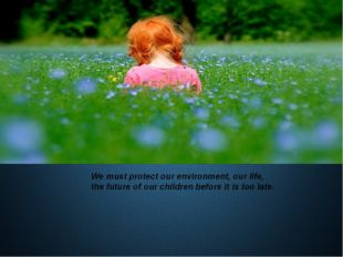 We must protect our environment, our life, the future of our children before
