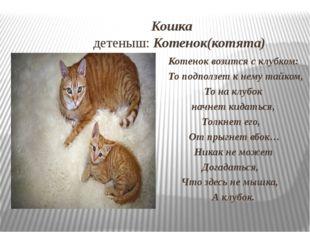 Кошка детеныш: Котенок(котята) Котенок возится с клубком: То подползет к нем