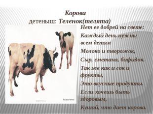 Корова детеныш: Теленок(телята) Нет ее добрей на свете: Каждый день нужны вс