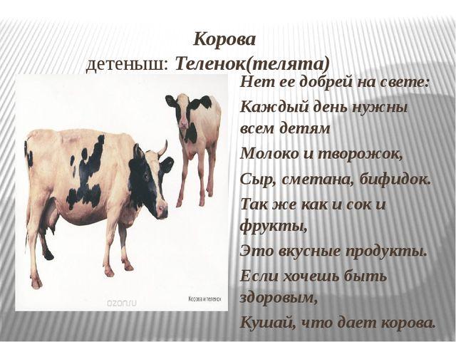 Корова детеныш: Теленок(телята) Нет ее добрей на свете: Каждый день нужны вс...