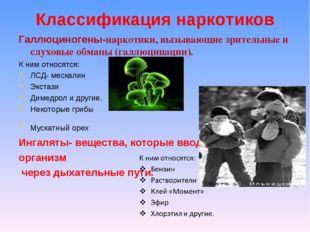 Классификация наркотиков Галлюциногены-наркотики, вызывающие зрительные и слу