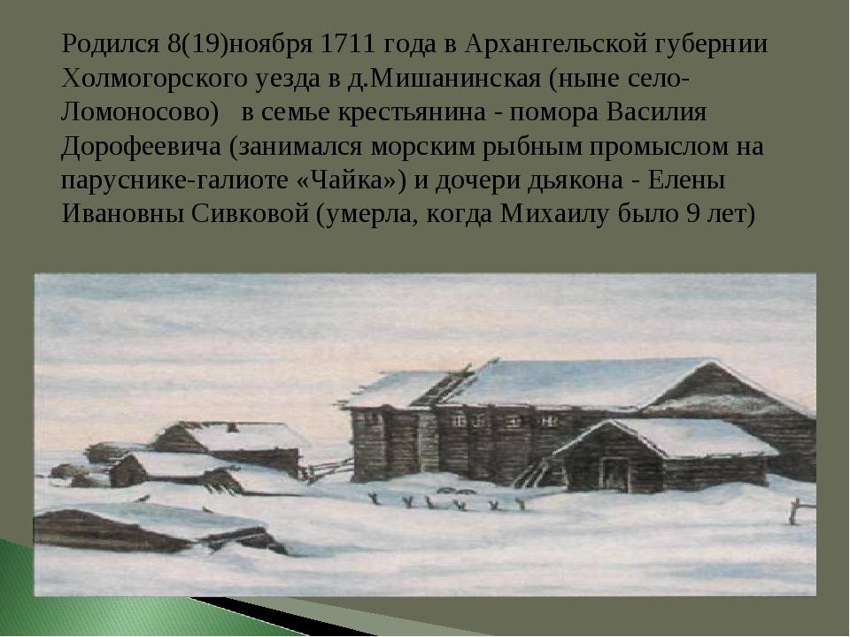 Родился 8(19)ноября 1711 года в Архангельской губернии Холмогорского уезда в...