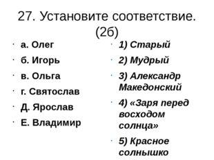 27. Установите соответствие.(2б) а. Олег б. Игорь в. Ольга г. Святослав Д. Яр