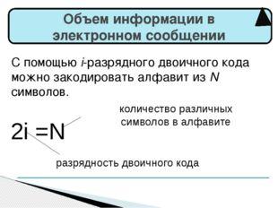 Объем информации в электронном сообщении 2i =N разрядность двоичного кода ко