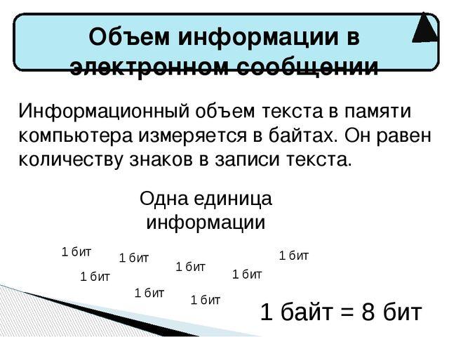 Объем информации в электронном сообщении Информационный объем текста в памят...