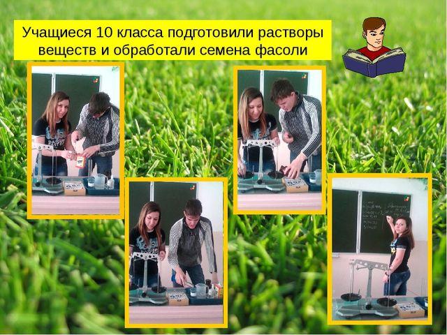 Учащиеся 10 класса подготовили растворы веществ и обработали семена фасоли