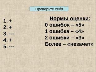 + + --- + --- Нормы оценки: 0 ошибок – «5» 1 ошибка – «4» 2 ошибки – «3» Боле