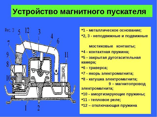* Устройство магнитного пускателя 1- металлическое основание; 2,3- неподви...