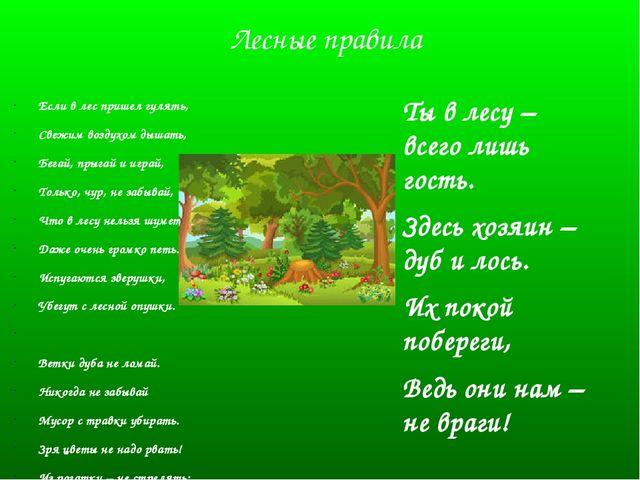 Лесные правила Если в лес пришел гулять, Свежим воздухом дышать, Бегай, прыга...