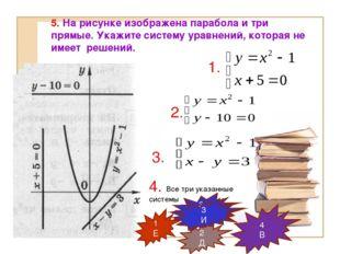 5. На рисунке изображена парабола и три прямые. Укажите систему уравнений, ко