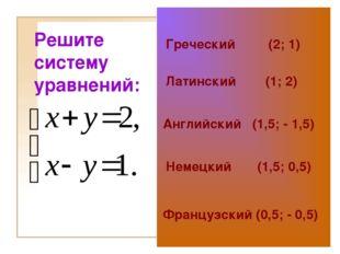 Решите систему уравнений: Греческий (2; 1) Латинский (1; 2) Английский (1,5;