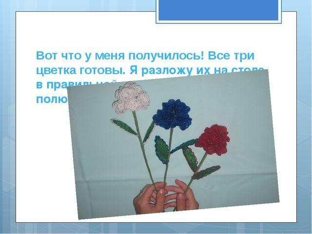 Вот что у меня получилось! Все три цветка готовы. Я разложу их на столе в пра...