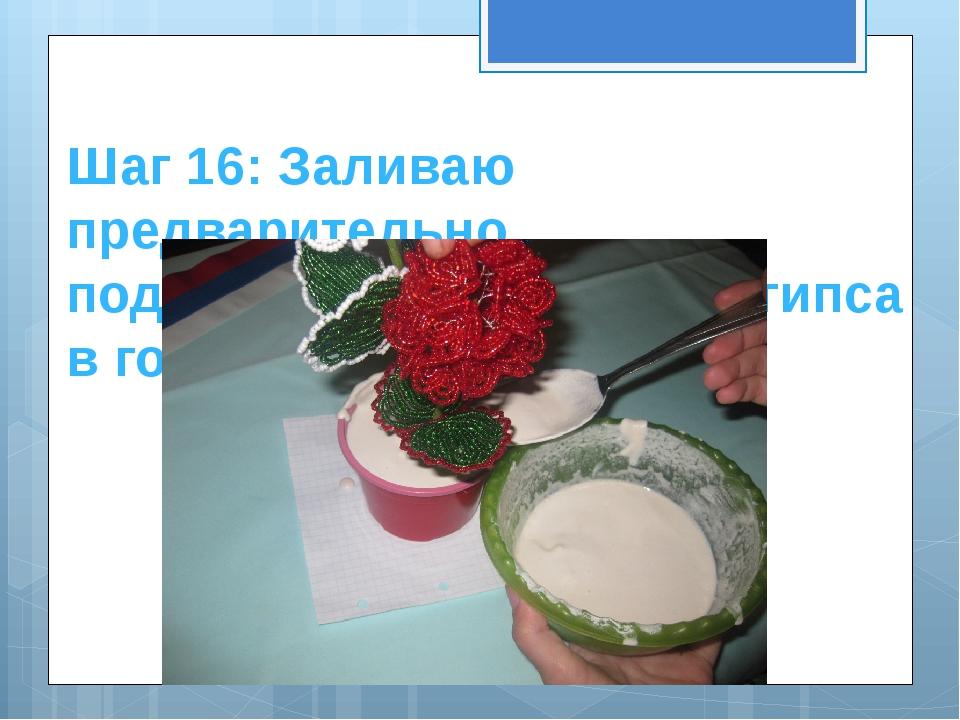Шаг 16: Заливаю предварительно подготовленный раствор гипса в горшочек.