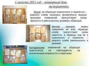 1 августа 2015 год – четвертый деньэксперимента. Холодильник: изме