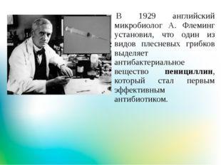 В 1929 английский микробиолог А. Флеминг установил, что один из видов плесне