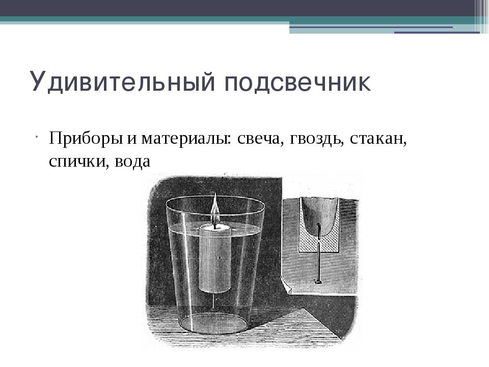 Удивительный подсвечник Приборы и материалы: свеча, гвоздь, стакан, спички, в...