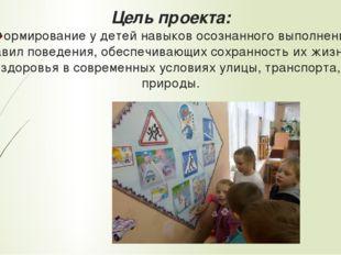 Цель проекта: Формирование у детей навыков осознанного выполнения правил пов
