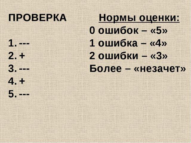 ПРОВЕРКА --- + --- + --- Нормы оценки: 0 ошибок – «5» 1 ошибка – «4» 2 ошибки...