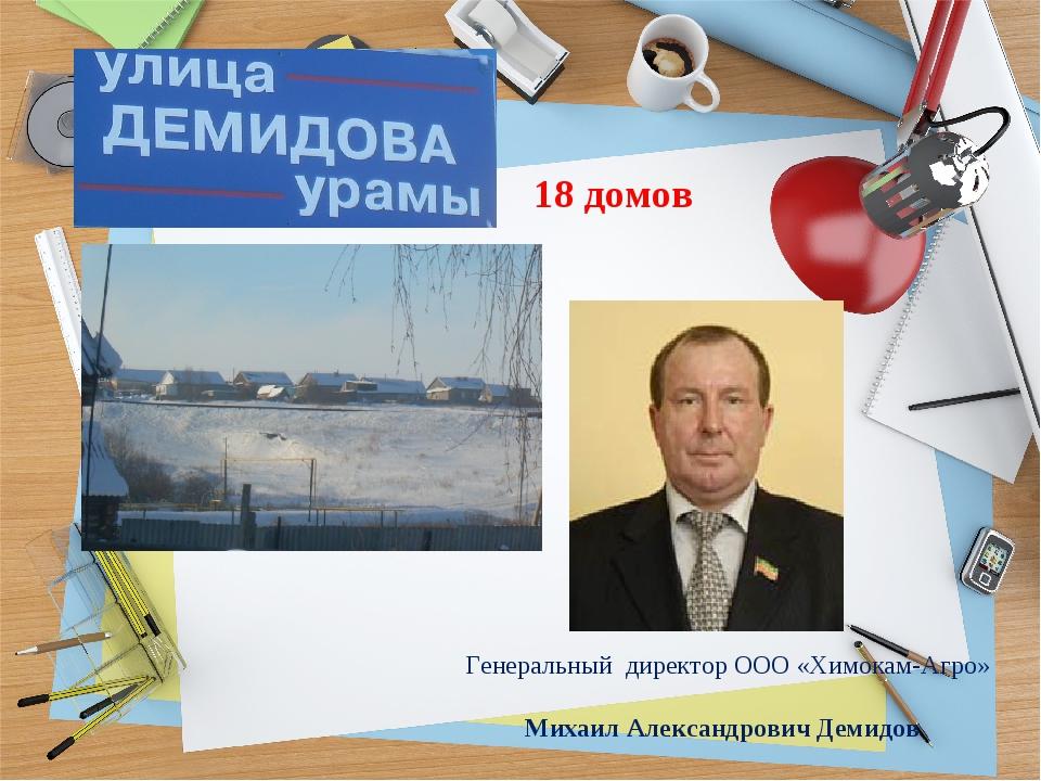 18 домов Генеральный директор ООО «Химокам-Агро» Михаил Александрович Демидов