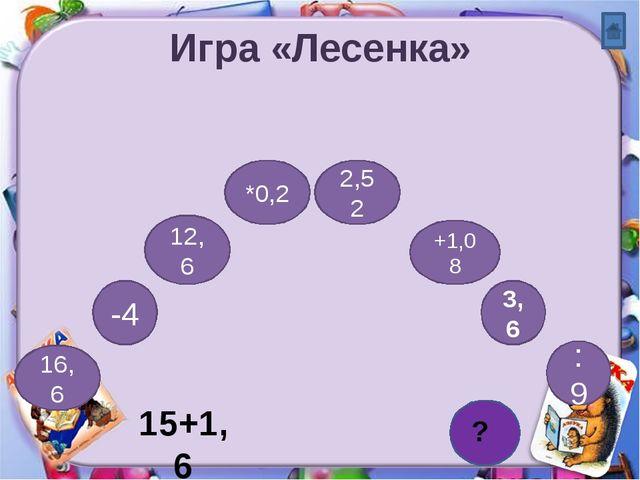 Игра «Лесенка» 15+1,6 16,6 -4 3,6 : 9 *0,2 +1,08 12,6 2,52 0,4 ?