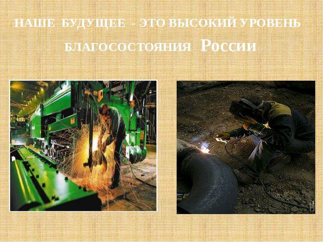 НАШЕ БУДУЩЕЕ - ЭТО ВЫСОКИЙ УРОВЕНЬ БЛАГОСОСТОЯНИЯ России