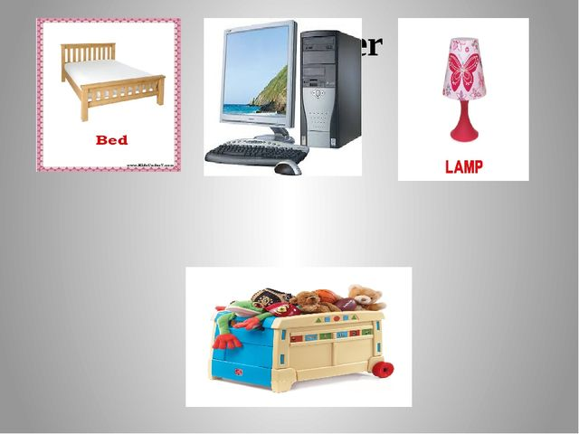 a bed a computer a lamp a toy box