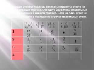 В каждом столбце таблицы записаны варианты ответа на пример в верхней строчке