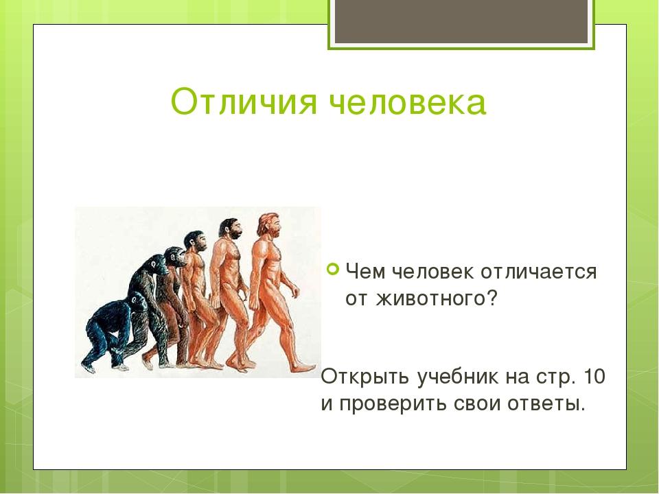 Отличия человека Чем человек отличается от животного? Открыть учебник на стр....
