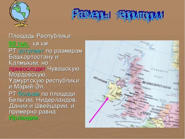 Площадь Республики 68 тыс. кв.км. РТ уступает по размерам Башкортостану и Ка...