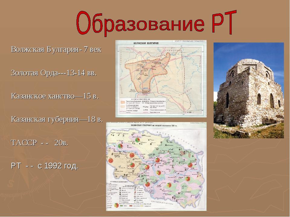 Волжская Булгария- 7 век Золотая Орда---13-14 вв. Казанское ханство—15 в. Каз...