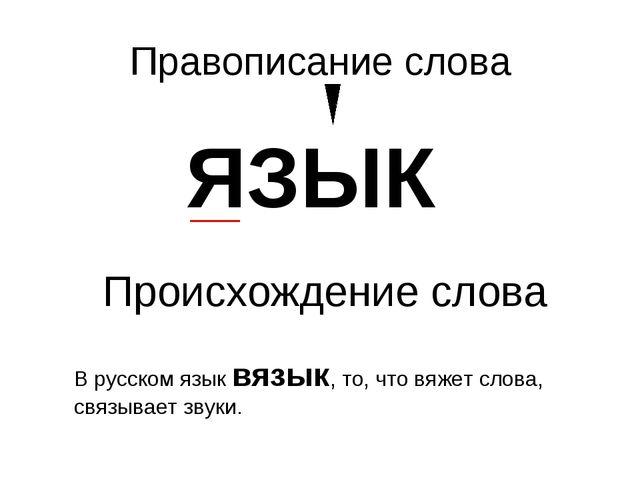 Правописание слова ЯЗЫК Происхождение слова В русском язык вязык, то, что вяж...