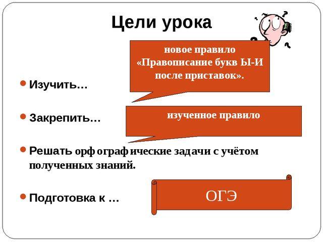 Цели урока Изучить… Закрепить… Решать орфографические задачи с учётом получен...