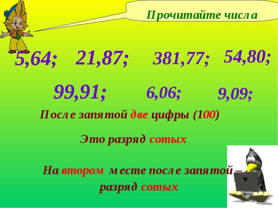 Прочитайте числа 5,64; 21,87; После запятой две цифры (100) 381,77; 54,80; 6,...