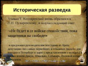 Историческая разведка Атаман Т. Котляревский вновь обратился к П.Н. Пузыревск