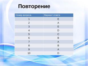 Повторение Номер вопроса Вариант ответа 1 E 2 A 3 E 4 D 5 C 6 B 7 A 8 B 9 A 1