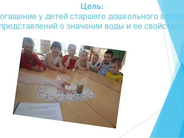 Цель: Обогащение у детей старшего дошкольного возраста представлений о значен...