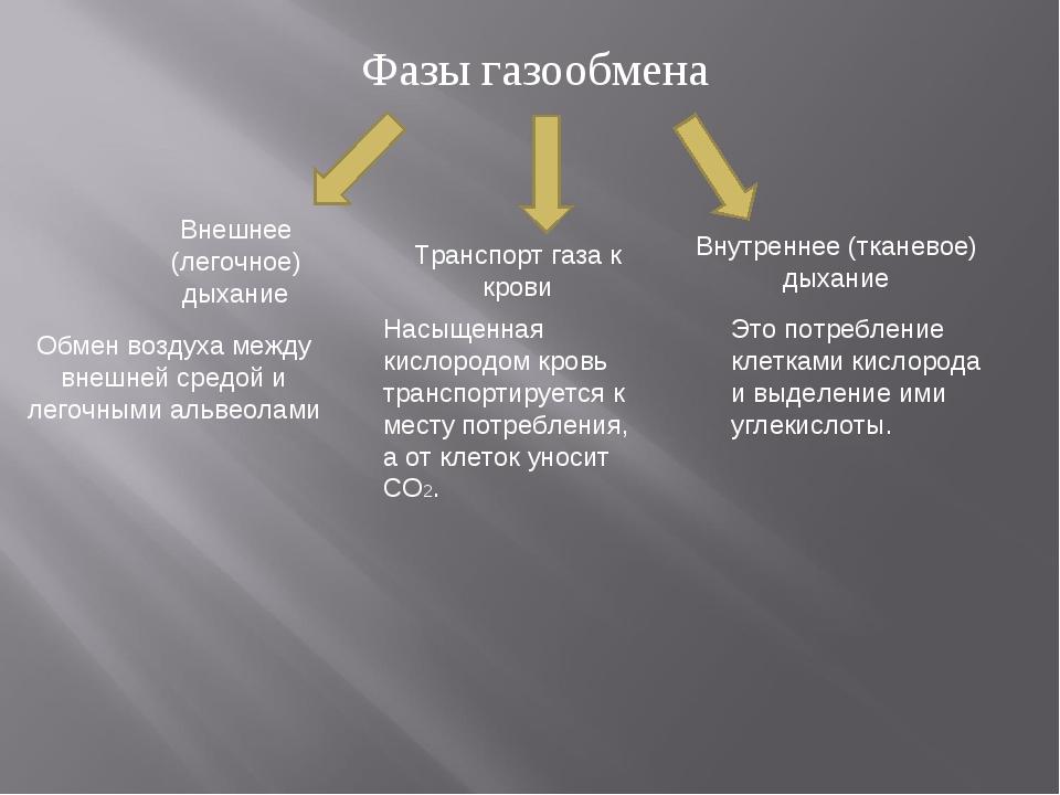 Фазы газообмена Внешнее (легочное) дыхание Транспорт газа к крови Внутреннее...