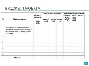 БЮДЖЕТ ПРОЕКТА * №НаименованиеБюджет проекта, тыс. руб.Бюджетные источники