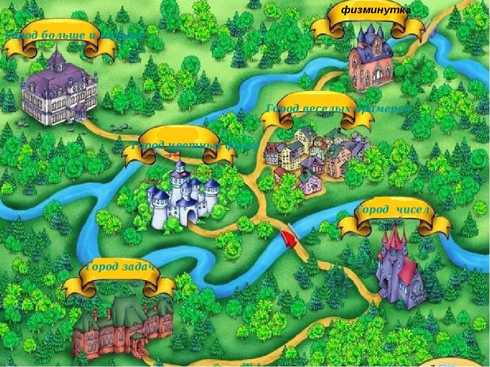 Город чисел Город больше и меньше Город цветных фигур Город веселых примеров...