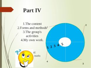 Part IV 1.The content 2.Forms and methods 3.The group's activities 4.My own w