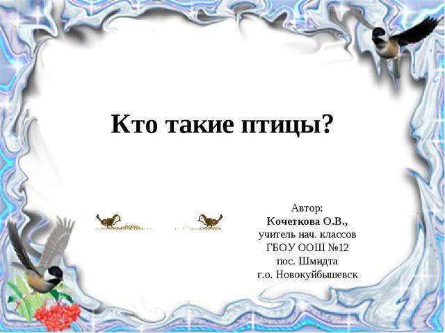 Кто такие птицы? Автор: Кочеткова О.В., учитель нач. классов ГБОУ ООШ №12 пос...