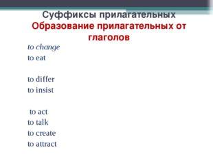 Суффиксы прилагательных Образование прилагательных от глаголов to change to