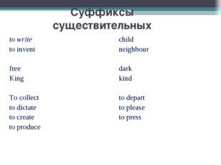 Суффиксы существительных to writechild to inventneighbour free