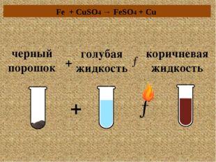 черный порошок + голубая жидкость → коричневая жидкость → + Fe + CuSO4 → FeSO